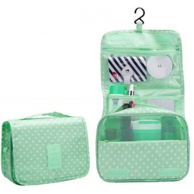 Organizers - Make-Up, Toilettas - Groen met witte stippen - 7442141071069