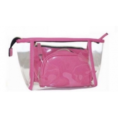 Makeup tas, Toilettas 3 in 1 - Doorzichtig - Roze - 744214106084