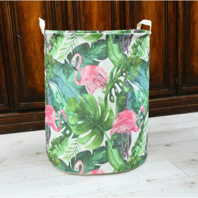 Container - Tas - Wasmand - Speelgoed mand - Flamingo's (Z85)